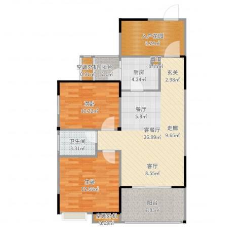 融科海阔天空2室2厅1卫1厨97.00㎡户型图