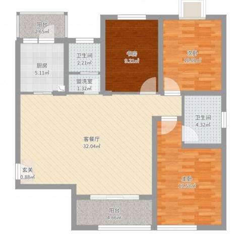 翰林缘花园3室4厅2卫1厨106.00㎡户型图