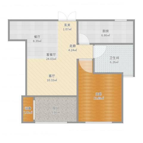 荣域花园1室2厅1卫1厨72.00㎡户型图