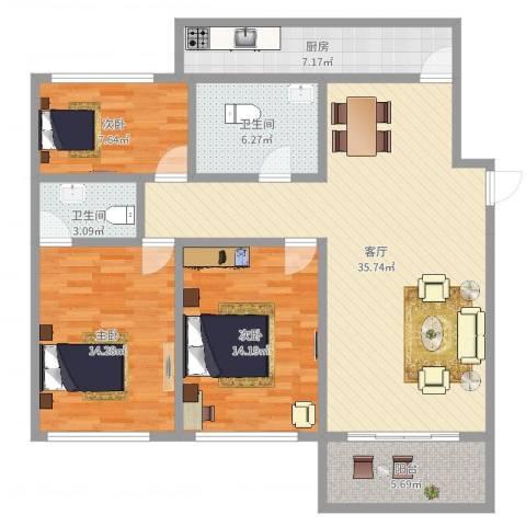龙柏西郊公寓3室1厅2卫1厨118.00㎡户型图