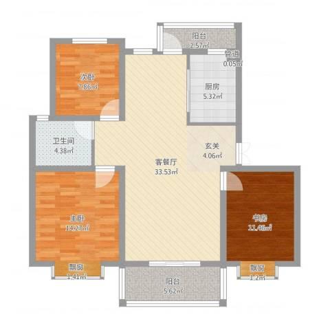 海韵嘉园3室2厅1卫1厨106.00㎡户型图