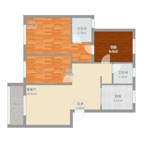 梅江南苑3室2厅2卫1厨111.00㎡户型图