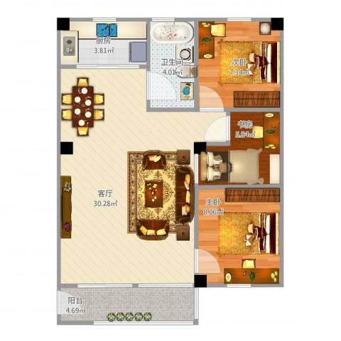 禺雅园3室1厅1卫1厨72.00㎡户型图