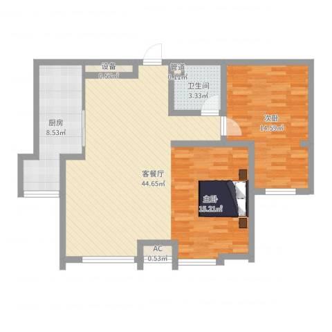 环球贸易中心1室2厅1卫1厨90.00㎡户型图