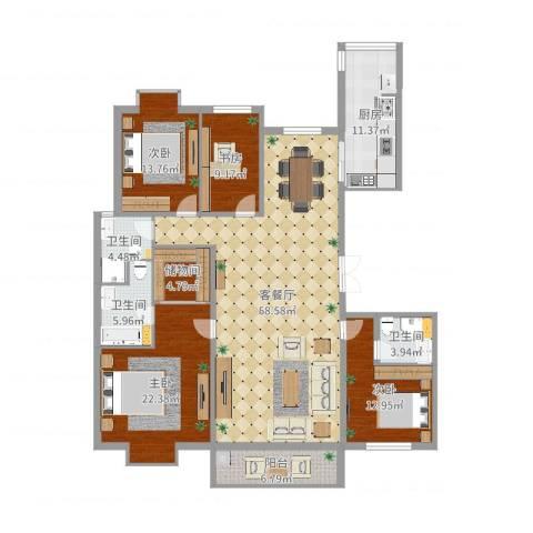 金吉华冠苑4室2厅3卫1厨193.00㎡户型图
