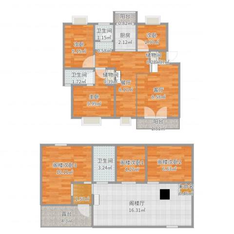 奥林匹克花园枫叶苑3室2厅3卫1厨121.00㎡户型图