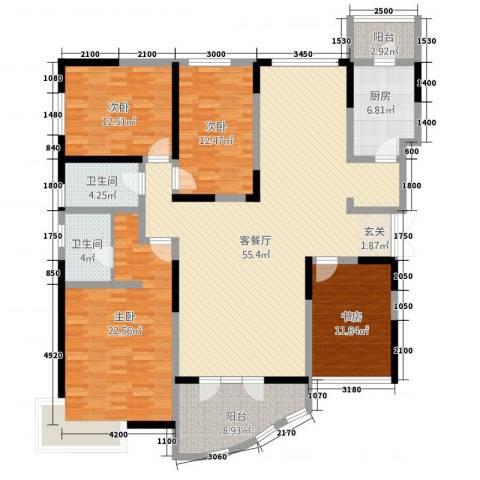 凯创城市之巅4室2厅2卫1厨161.22㎡户型图