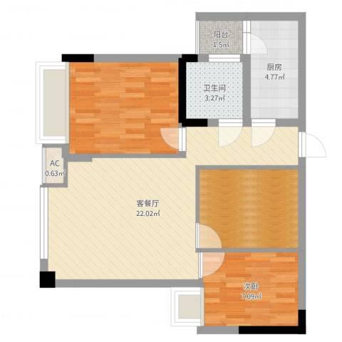 泽胜中央广场1室2厅1卫1厨59.00㎡户型图