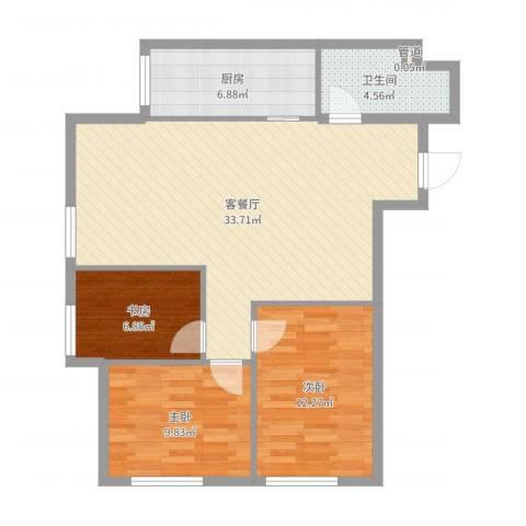 亿合城3室2厅2卫1厨93.00㎡户型图