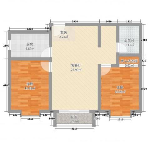 三联北尚2室2厅1卫1厨90.00㎡户型图