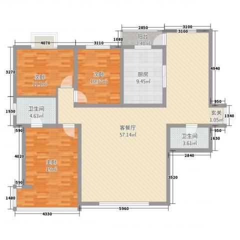 万成广场3室2厅2卫1厨166.00㎡户型图