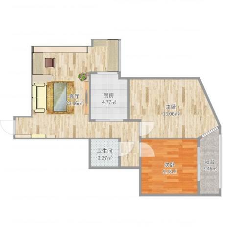 北苑家园紫绶园2室1厅2卫1厨70.00㎡户型图