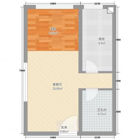万成广场2厅1卫1厨54.00㎡户型图