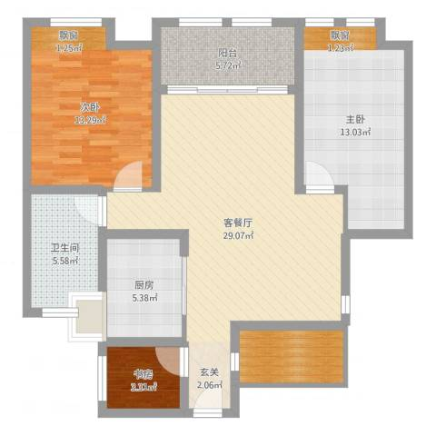 鸿舜御峰3室2厅1卫1厨99.00㎡户型图
