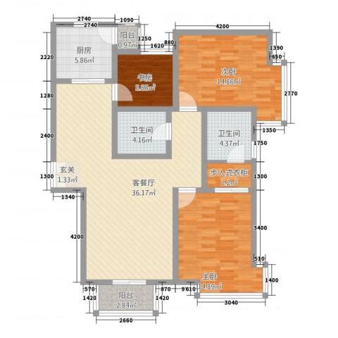 三联北尚3室2厅2卫1厨127.00㎡户型图