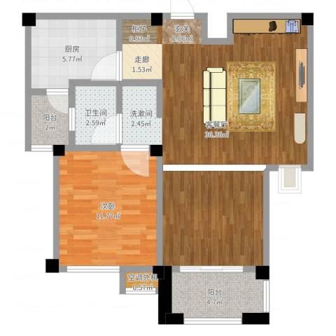 兆地尊庭1室2厅2卫1厨83.00㎡户型图
