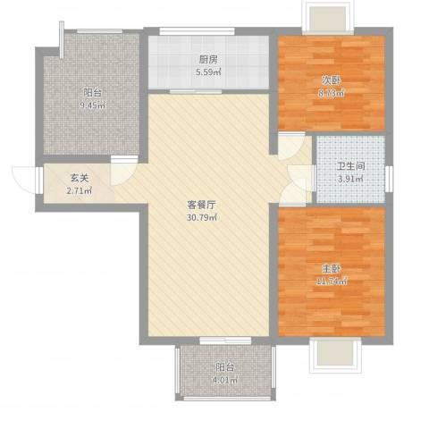 龙池长隆花园2室2厅1卫1厨93.00㎡户型图