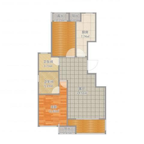 百子湾家园1室1厅3卫1厨89.00㎡户型图