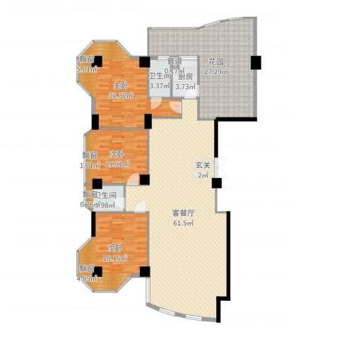 玉滨城三期3室2厅2卫1厨193.00㎡户型图