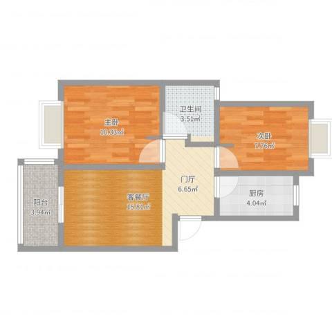 好日子大家园D区2室2厅1卫1厨57.00㎡户型图