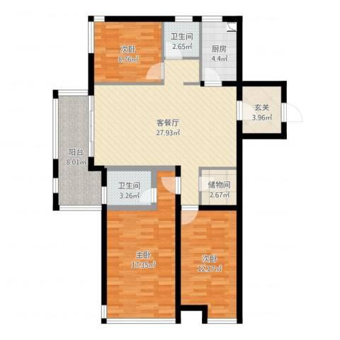 金域华府3室2厅2卫1厨91.17㎡户型图