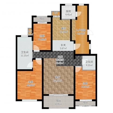 曦城花语3室2厅2卫1厨178.00㎡户型图
