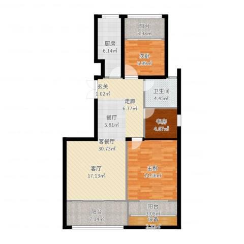 荣域花园3室2厅1卫1厨105.00㎡户型图