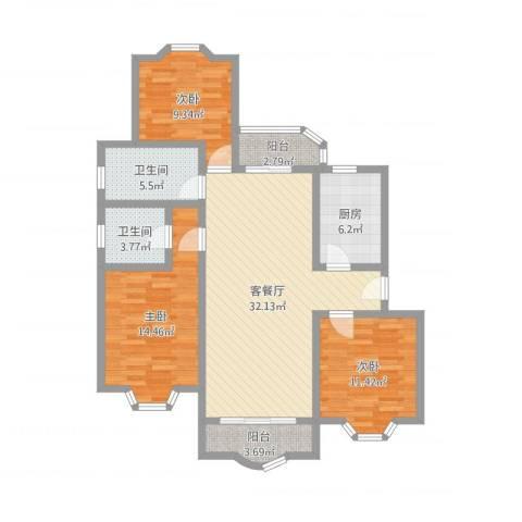 虹康花苑二期3室2厅2卫1厨112.00㎡户型图