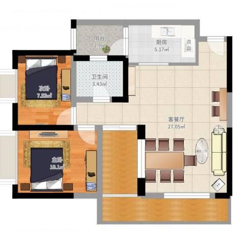 金辉苹果城2室2厅1卫1厨84.00㎡户型图