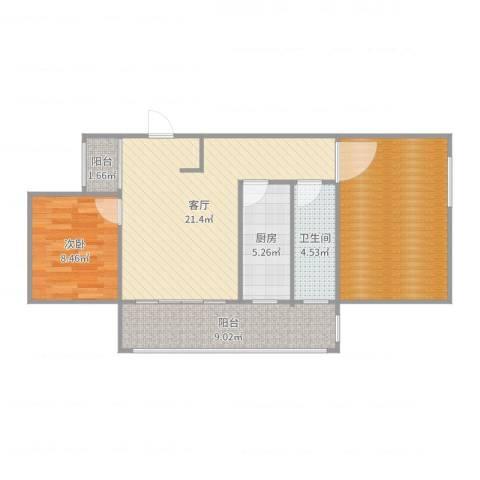 绿地望海新都(绿地领御)1室1厅1卫1厨66.86㎡户型图