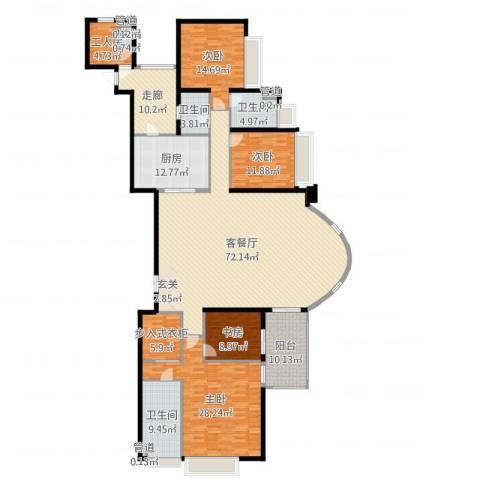 中海观园国际4室2厅4卫1厨249.00㎡户型图