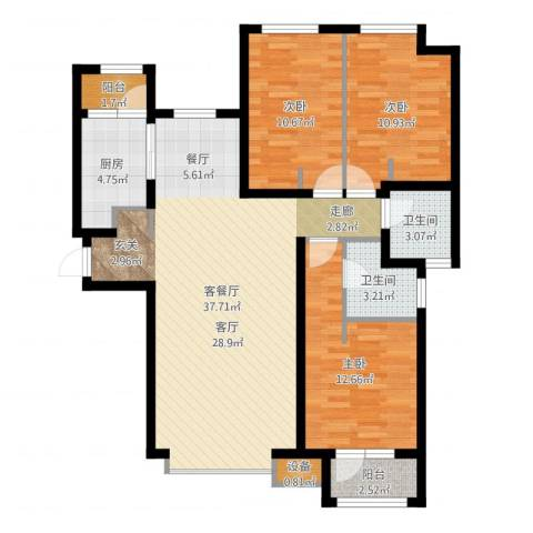 天成佳境3室2厅2卫1厨110.00㎡户型图
