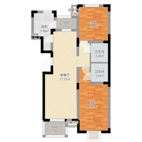 日光清城2室2厅2卫1厨87.00㎡户型图