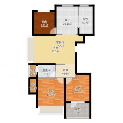 星月花园3室2厅1卫1厨120.00㎡户型图