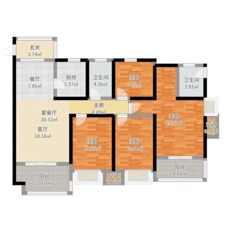 长瑞上城4室2厅2卫1厨139.00㎡户型图