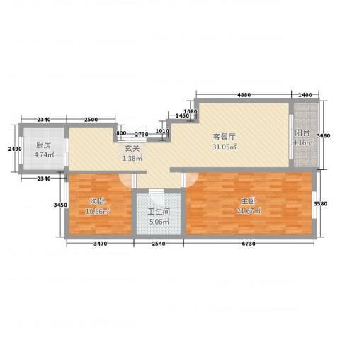 上东阳光2室2厅1卫1厨110.00㎡户型图