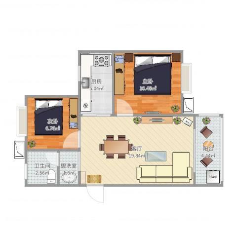 旭辉悦庭2室3厅1卫1厨76.00㎡户型图