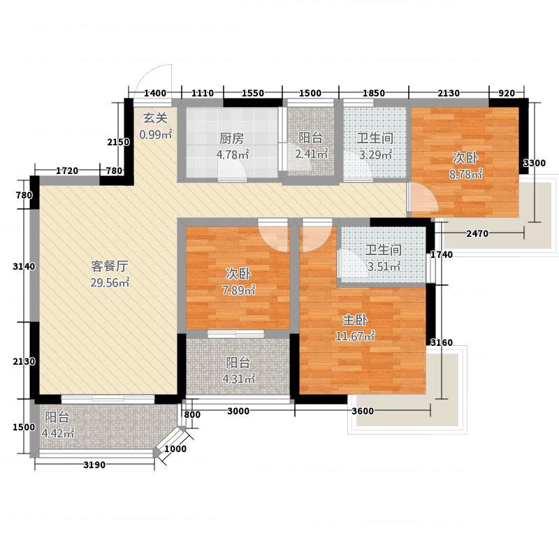 山海天爵仕12314.42㎡B1-2型户型3室2厅2卫