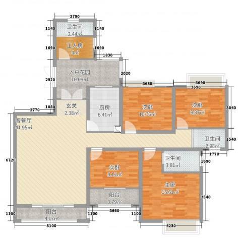 万佳裕园4室2厅3卫1厨179.00㎡户型图