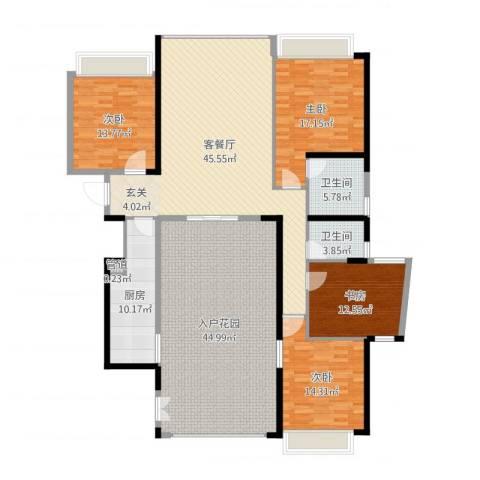 国际邮轮城一期4室2厅2卫1厨210.00㎡户型图