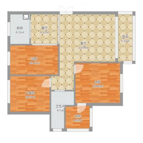 凤凰花园4室2厅1卫1厨104.00㎡户型图