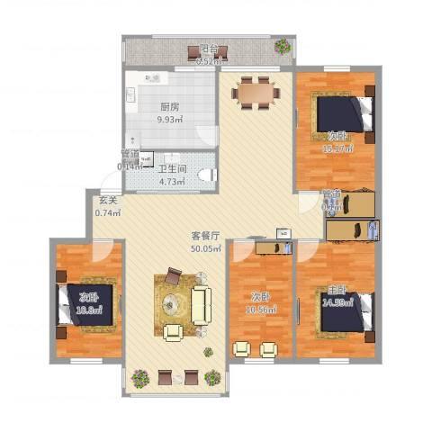 普阳小区4室2厅1卫1厨122.60㎡户型图