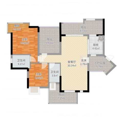 金山家园2室2厅2卫1厨125.00㎡户型图