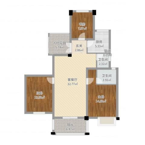 冠达豪景东苑3室2厅2卫1厨115.00㎡户型图