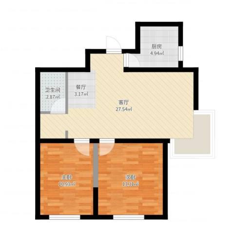 融侨观邸2室1厅1卫1厨74.00㎡户型图