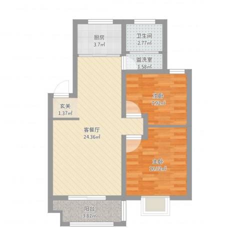 中科碧水豪庭2室4厅1卫1厨69.00㎡户型图