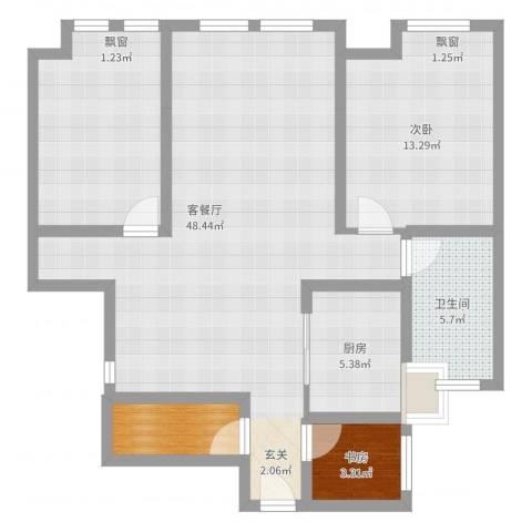 鸿舜御峰2室2厅1卫1厨99.00㎡户型图