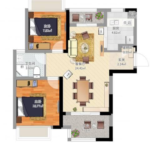 高速・滨湖时代广场2室2厅1卫1厨87.00㎡户型图