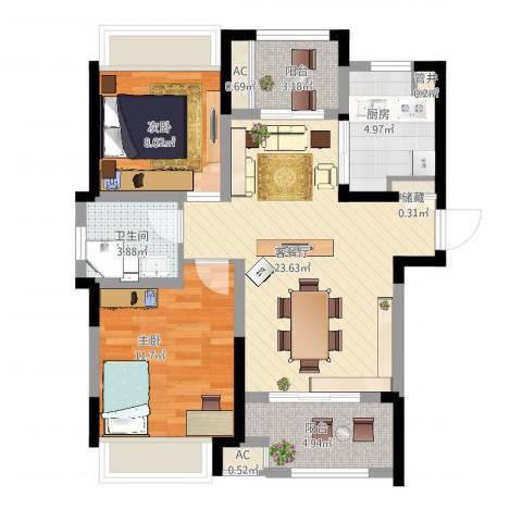 高速滨湖时代广场2室2厅1卫1厨91.00㎡户型图