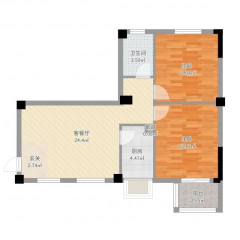七里香苑云龙阁2室2厅1卫1厨76.00㎡户型图